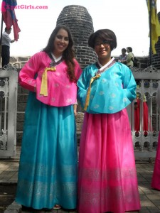 Dressed up in hanboks (traditional Korean dresses)