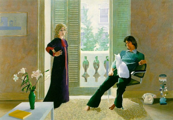 Mr and Mrs Clark and Percy by David Hockney. It depicts the fashion designer Ossie Clark and the textile designer Celia Birtwell shortly after their wedding. The painting is in the collection of the Tate Gallery