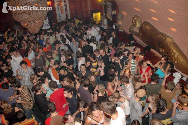 Regular International students night out. You can spot me in blue somwehere next to the Buddha on the wall
