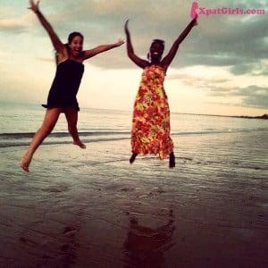 Rose (friend) and I at Bagamoyo beach