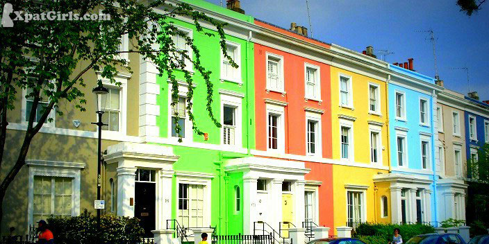 Notting Hill - each house is painted a distinctive colour so the facade resembles a pastel rainbow of blues, pinks, yellows, greens and purples. There's no pattern or uniformity to the colour selection but somehow it all works. Gorgeous.