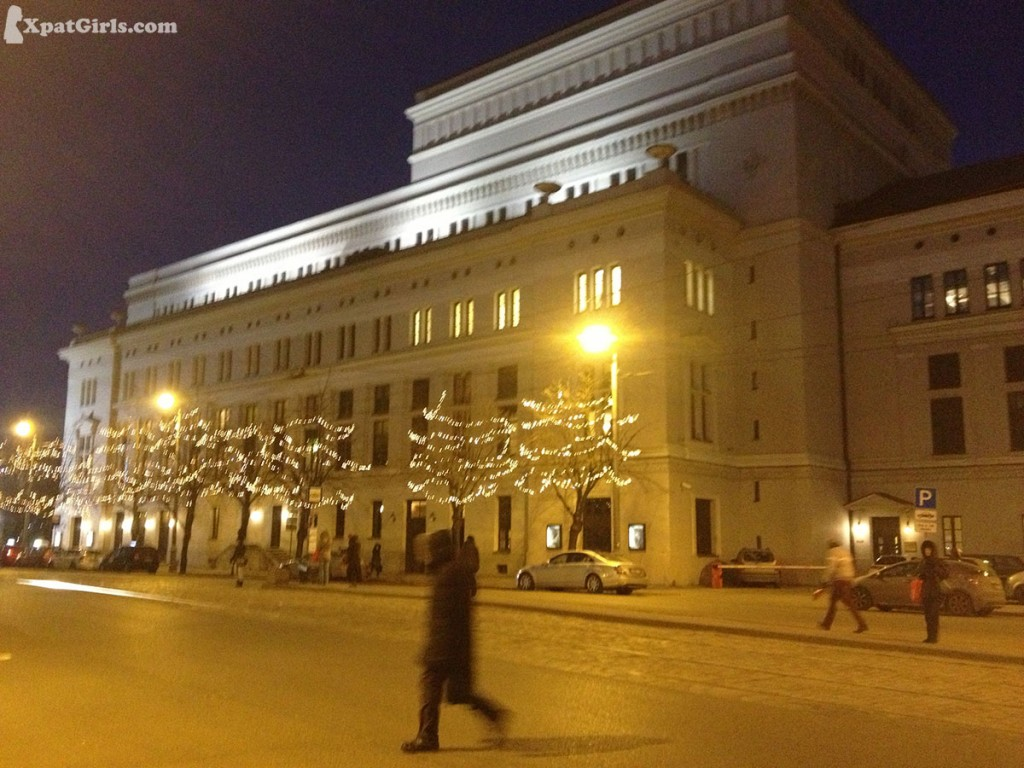 Riga Opera house in the city center at winter