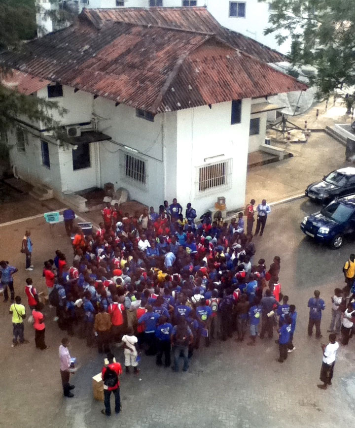 Morning meeting of sales guys before they hit the streets of Ghana.