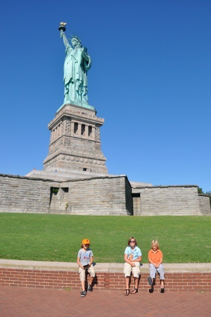 My boys in front of Lady Liberty