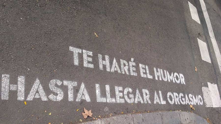 """Tricky translation: Original is: """"I'll make love (amor in Spanish) to you till you reach orgasm"""". Written: """"I'll make humor with you till you reach orgasm."""""""
