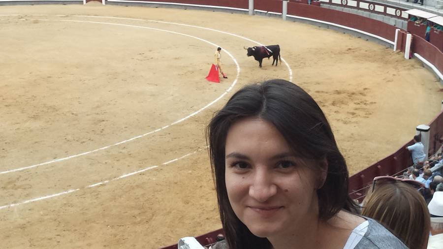Me, smiling for the camera but feeling sorry for the bull