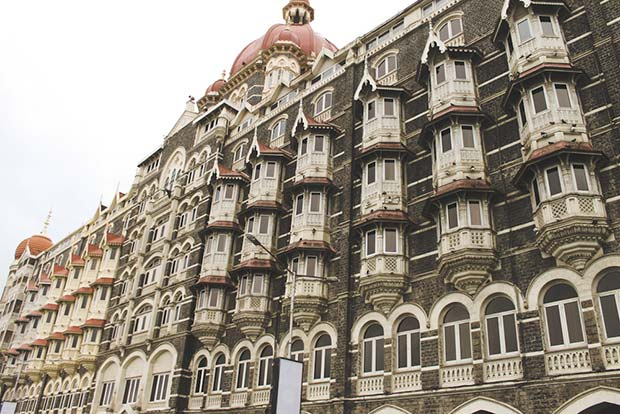 Stunning architecture of Taj Mahal Palace Hotel in Colaba