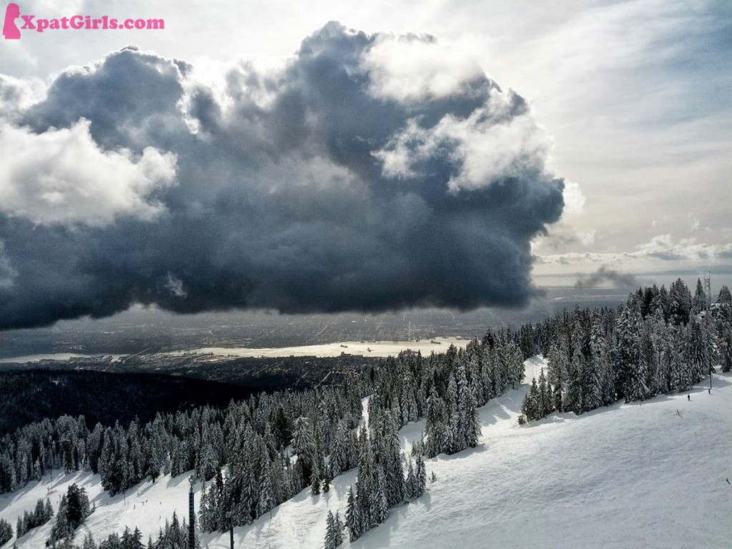 Skiing on top of Vancouver, on Grouse Mountain