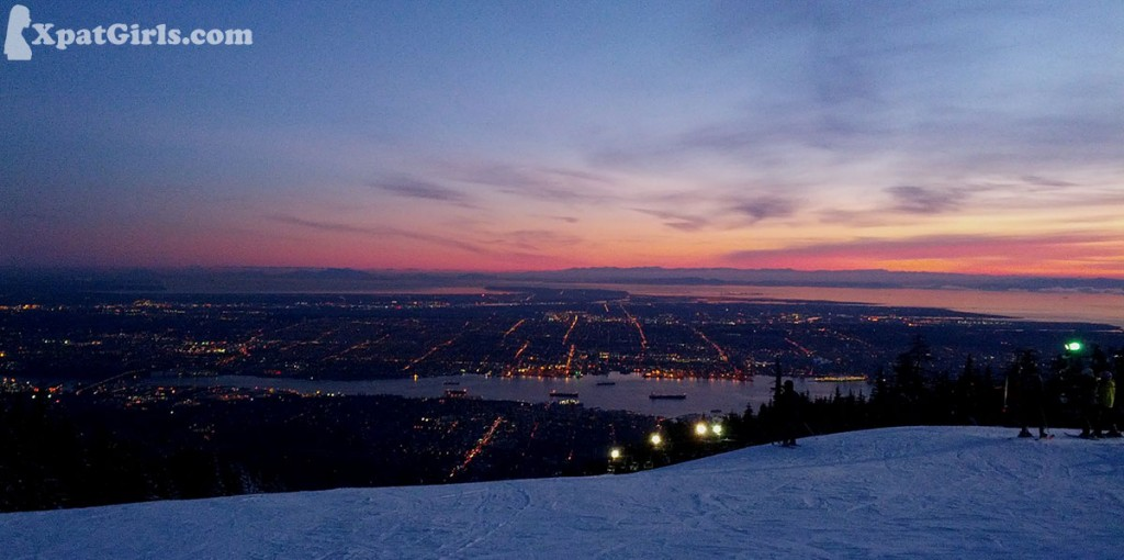 Sunsets are often spectacular in Vancouver - here's one from above (night skiing at Grouse Mountain)