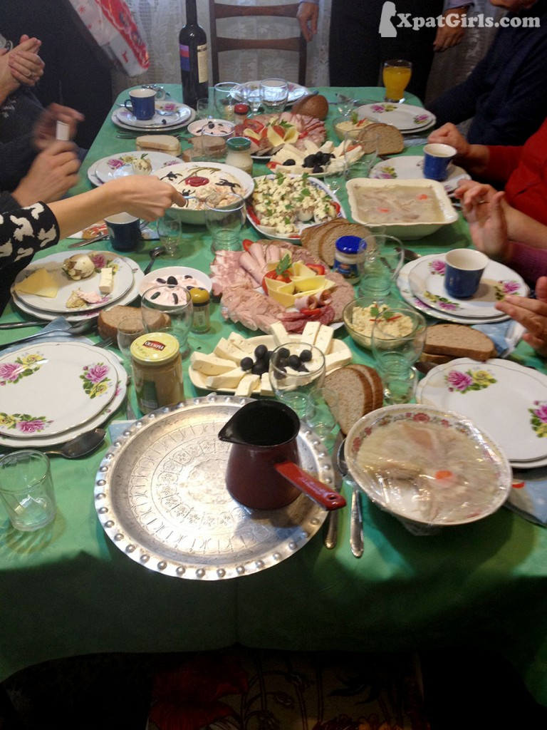 A traditional Romanian lunch. The more the courses, the more the hours spent at the table