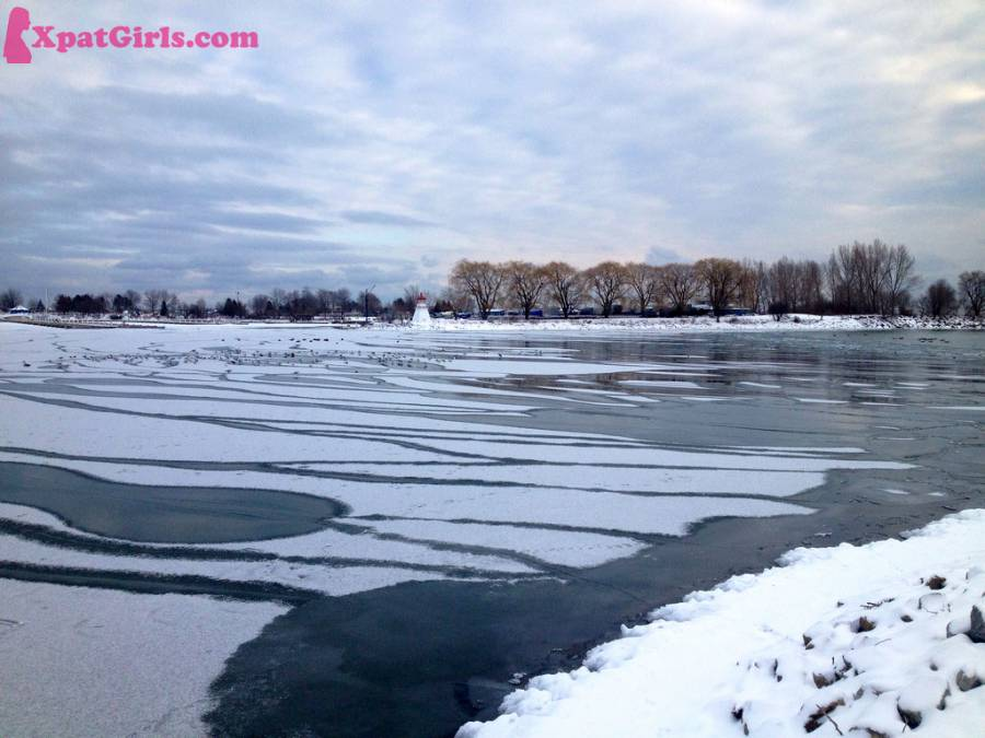 Lake Ontario covered in ice during winter