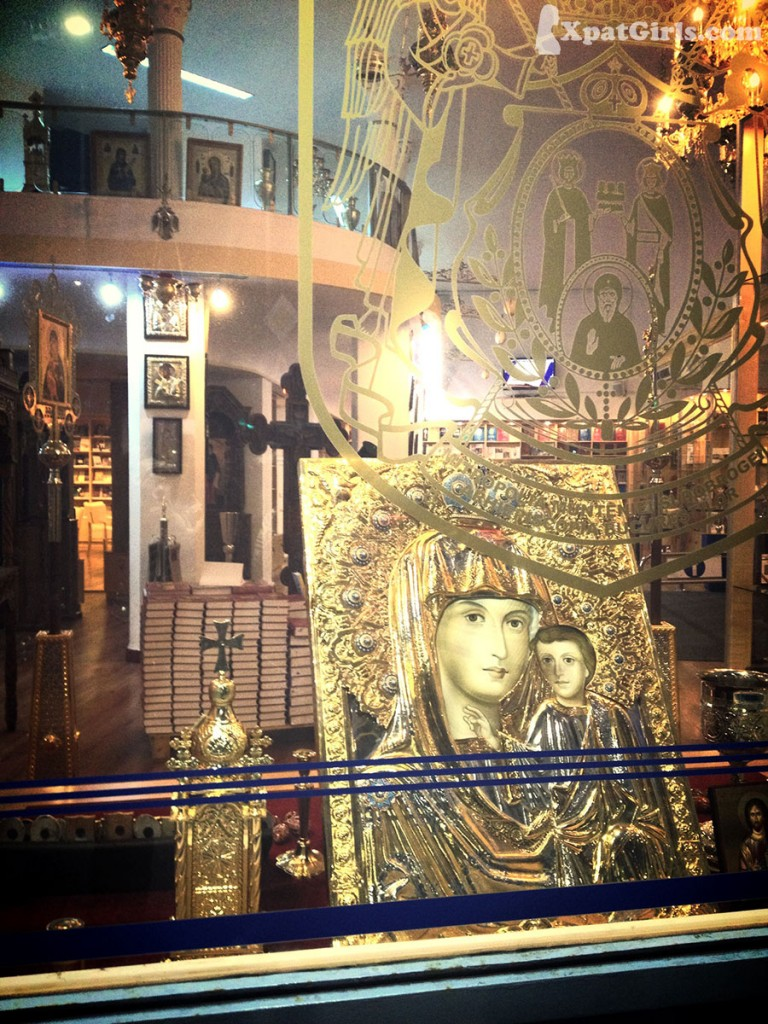 An entire 2 stores shop of religious items placed in the center of Bucharest