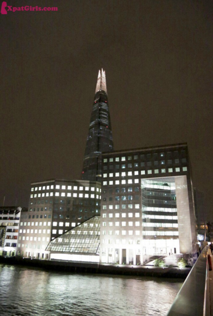 The Shard - the tallest building in London, lit up at night.