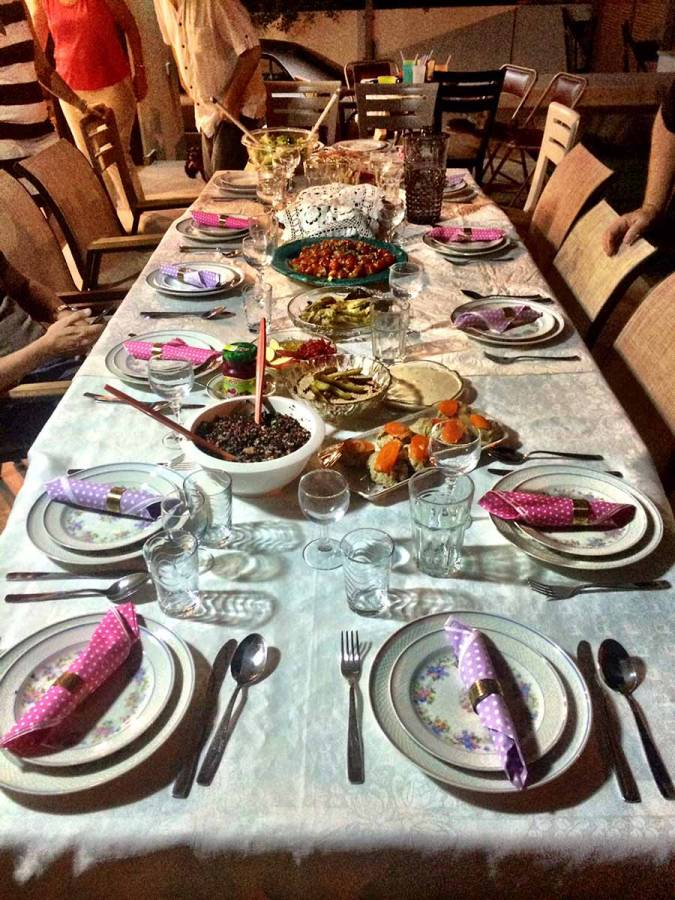 Our table before the Rosh HaShana Dinner this year