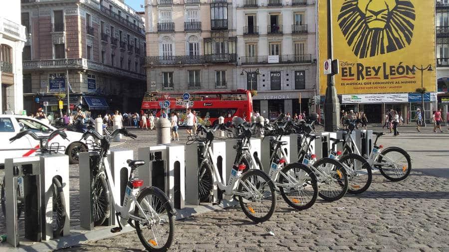 Bike-rental point in Plaza del Sol