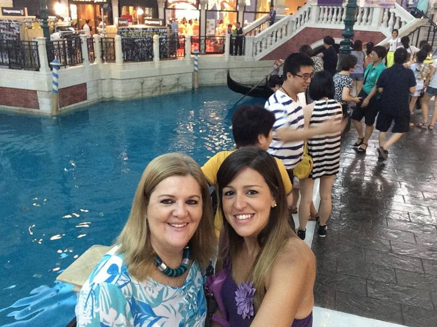 Mum & I shopping at the beautiful Venetian Macau. In Macau you have the glamour casinos and the historical area which is simple and rich of culture.